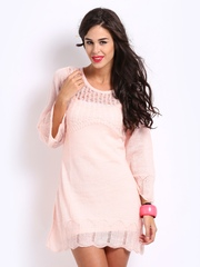 Elle Light Pink Mohair Blend Vintage Romance Sweater Dress