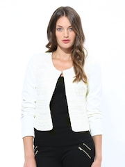 Elle Women Ivory White Crochet Jacket
