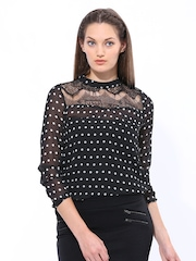 Elle Women Black Polka Dot Print Sheer Top