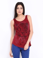 Elle Women Red Printed Top