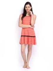 Enamor Coral Pink Striped Nightdress ND29