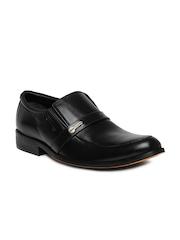 Engross Men Black Leather Semi-Formal Shoes
