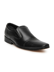 Engross Men Black Leather Semi-Formal Shoes