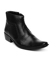 Engross Men Black Leather Boots