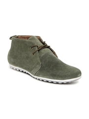 Engross Men Olive Green Merrel Suede Casual Shoes