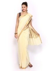 Ennthra Cream-Coloured Cotton Blend Onam Kasavu Saree