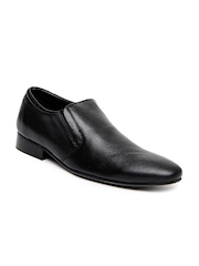 Estd. 1977 Men Black Leather Semi-Formal Shoes
