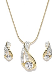 Estelle 24-Carat Gold-Plated Earrings & Pendant Set with Chain