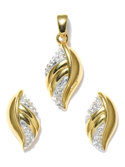 Estelle Gold Plated Leaf Earrings and Pendant Set