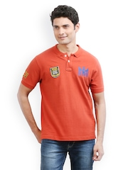 Ethane Men Rust Orange Polo T-shirt