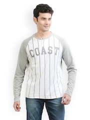 Men Grey & White Striped Henley T-shirt Ethane