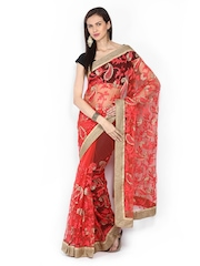 Ethnic Dukaan Coral Red Embroidered Supernet Partywear Saree