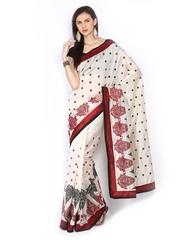 Ethnic Dukaan Off-White Embroidered Art Silk Partywear Saree