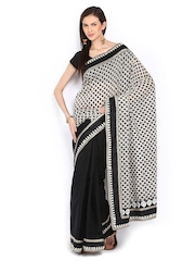 Grey & Black Chanderi Cotton Fashion Saree Ethnic Dukaan