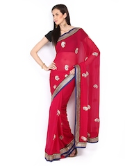 Ethnic Dukaan Magenta Embroidered Georgette Partywear Saree available at Myntra for Rs.6132