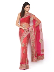 Ethnic Dukaan Pink Embroidered Supernet Partywear Saree