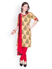 EthnicQueen Women Beige & Red Printed Churidar Kurta with Dupatta