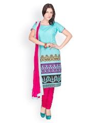 EthnicQueen Women Blue & Pink Printed Churidar Kurta with Dupatta