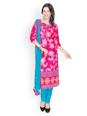 EthnicQueen Women Pink & Blue Printed Churidar Kurta with Dupatta