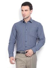 Excalibur Men Black & Blue Checked Slim Fit Formal Shirt