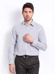 Excalibur Men Blue & White Striped Slim Fit Smart-Casual Shirt