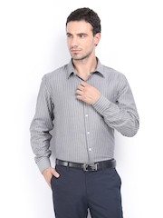 Excalibur Men Grey & White Striped Classic Fit Formal Shirt