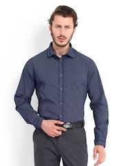 Excalibur Men Navy Printed Slim Fit Formal Shirt