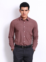 Excalibur Men Red Checked Slim Fit Smart-Casual Shirt