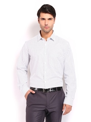 Excalibur Men White & Black Checked Classic Fit Formal Shirt