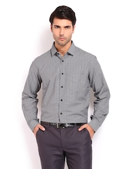 Excalibur Men Black &  White Checked Classic Fit Formal Shirt