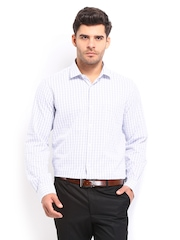 Excalibur Men White & Blue Checked Classic Fit Formal Shirt