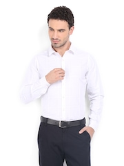 Excalibur Men White Checked Slim Fit Formal Shirt