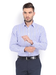 Excalibur Men White & Blue Striped Classic Fit Formal Shirt