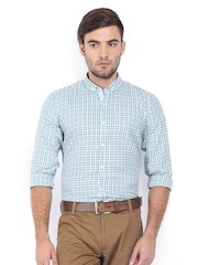 Excalibur Men White & Green Checked Slim Fit Smart-Casual Shirt