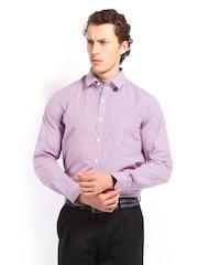 Excalibur Men White & Pink Checked Slim Fit Formal Shirt