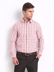 Excalibur Men White & Red Checked Slim Fit Smart-Casual Shirt
