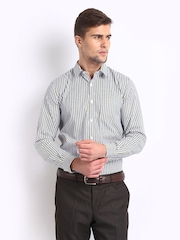 Excalibur Men Multi-Coloured Striped Slim Fit Smart-Casual Shirt