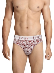 FCUK Underwear Men White & Maroon Printed Hip Briefs TGABN