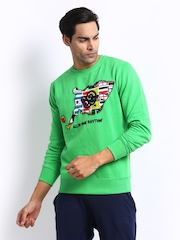 FIFA Men Green Printed Sweatshirt