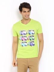Fila Men Lime Green Printed T-shirt
