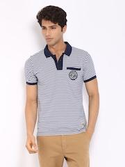 Fila Men Navy & White Striped Polo T-shirt