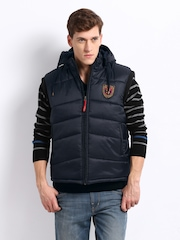 Fila Men Navy Levo Hooded Sleeveless Jacket