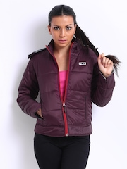 Fila Women Purple Checkhood Padded Hooded Jacket