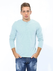 FREECULTR Men Light Blue Melange Henley T-shirt
