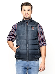 FREECULTR Men Navy Sleeveless Jacket