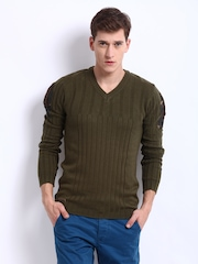 FREECULTR Men Olive Green Bolton Sweater