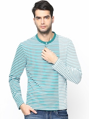 Men Green Striped Henley T-shirt FREECULTR