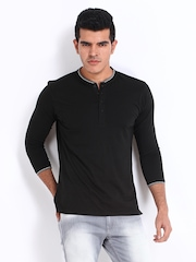 FREECULTR Men Black Henley T-shirt