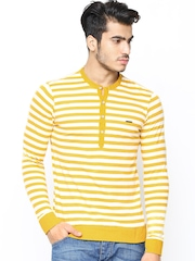 Men Mustard Yellow & Off-White Striped Henley T-shirt FREECULTR