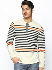 Men Cream & Grey Striped Henley T-shirt FREECULTR